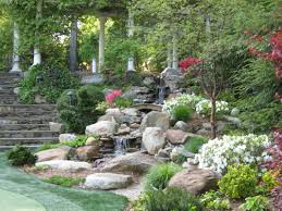 Backyard Waterfall Backyard Waterfalls Pond Stream And Garden Plantings In New