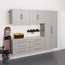 wood garage storage cabinets shop prepac furniture hangups 90 in w x 72 in h light grey composite