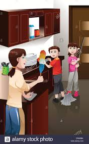 a vector illustration of happy kids helping their mother cleaning
