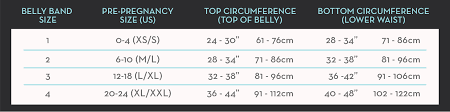 belly bandit sizing pregnancy stomach size chart