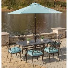 Patio Table Umbrella Traditions 7 Dining Set In Blue With Cast Top Dining Table