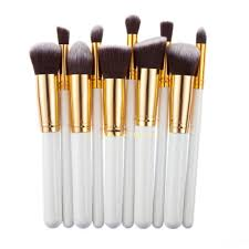 10pcs white foundation makeup tools cosmetic brushes set kit by
