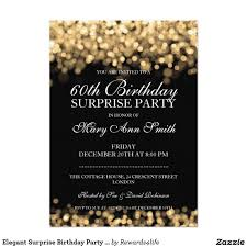 Google Invitation Cards Elegant Surprise Birthday Party Gold Lights 5x7 Paper Invitation