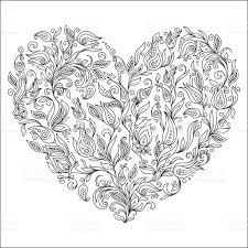 coloring page flower heart st valentines day greeting card stock