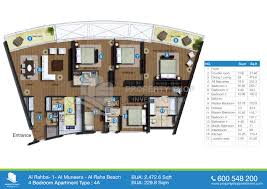 floor plan rahba muneera raha beach bedroom sqft