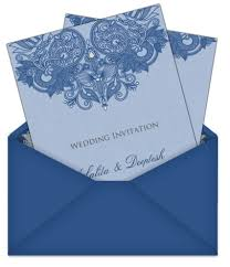 electronic wedding invitations asian digital wedding invitations blue henna patterned design