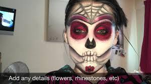 Sugar Skull Halloween Makeup Easy Sugar Skull Day Of The Dead Halloween Makeup Tutorial