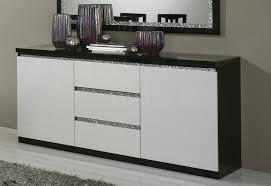 Buffet bahut design 2 portes 3 tiroirs laqué noir et blanc
