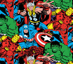 marvel avengers packed character cotton spandex fabric