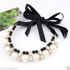 necklace pearls ribbon images Pearl tie necklace ebay JPG