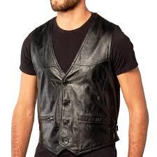 leather vest men black button lambskin leather vest