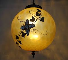 Yellow Glass Ceiling Light Retro Amber Glass Pendant Light Mid Century The Lamp Goods