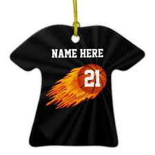flaming personalized basketball ornaments with your name and