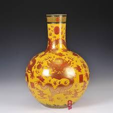 qing emperor qianlong famille vase ornaments yellow