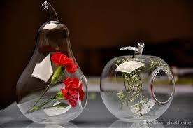 Wholesale Glass Flower Vases 2 Pack Apple Pear Crystal Glass Flower Vase Succulent Plants