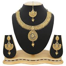 ladies necklace sets images Buy reeva gold zinc necklace with earring mangtikka set for jpg