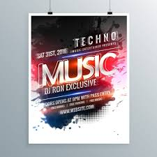 modern poster template of techno music vector free download