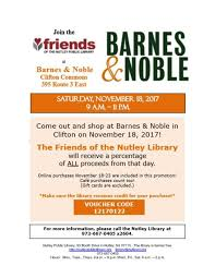 Barnes And Noble Trenton Nj Shop At Barnes U0026 Noble Clifton To Benefit Friends Of The Nutley