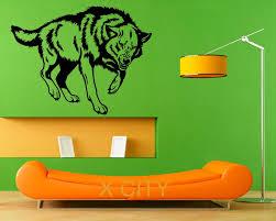 online get cheap stencil wall animal aliexpress com alibaba group wolf wild animal wall art sticker vinyl decal living room stencil mural home office dorm decor
