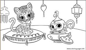 shimmer shine tiger monkey coloring pages printable
