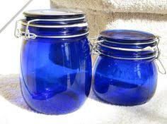 cobalt blue kitchen canisters cobalt blue glass jars glass canisters storage vintage set of four