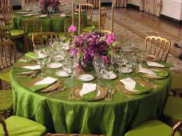 dark tablecloths on dinner tables will highlight elegant place