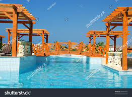 Pool With Pergola by Summer Resort Landscape Swimming Pool Wood Stock Photo 83014033