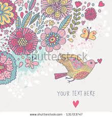 Wallpaper With Birds Colorful Vintage Background Pastel Colored Floral Stock Vector