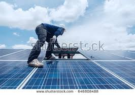 install solar engineer electrician team swapping install solar stock photo
