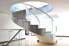 Stone Banister Helical Staircase Stone Steps Stainless Steel Frame With