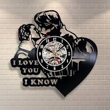 princess leia han solo i love you vinyl record clock home decor