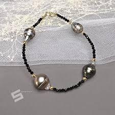 pearls bracelet images Natural black spinel tahitian pearls bracelet black gemstone jpg
