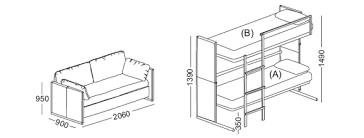 Bunk Bed Drawing Multifunctional Sofa Bunk Bed