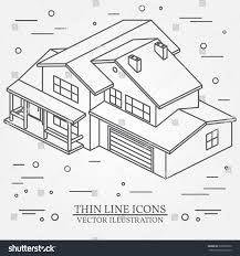 iisometric suburban american house web design stock vector