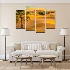 factory price framed golden desert with palm landscape wall art