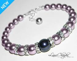 pearl bracelet swarovski images Mauve light purple pearl bracelet purple pearl wedding bracelet jpg