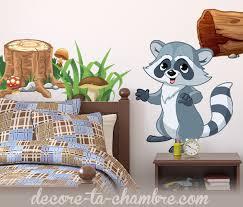 stickers animaux chambre bébé stickers enfant raton laveur vente sticker animaux de la forêt
