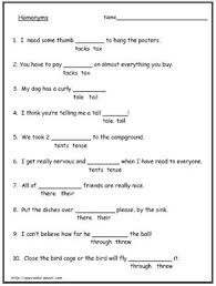 know these common homonyms and homophones worksheets math