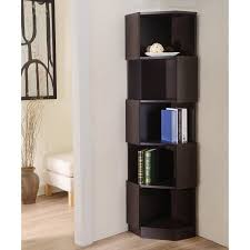 Corner Bookcase Furniture Of America Laina Geometric Espresso 5 Shelf Corner