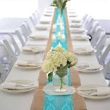 Burlap Lace Table Runner Aqua Blue Vintage Burlap Lace Table Runner Wedding Xmas Tablecloth