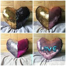 Factory Direct Home Decor Cheap Pillow Cushion Cover Buy by Mermaid Heart Shaped Sequins Pillow Case Color Change Sofa