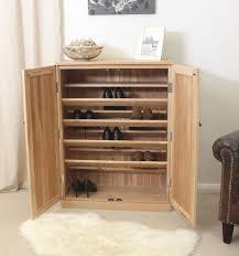 double natural ash wooden shoe storage door with 5 tier inside