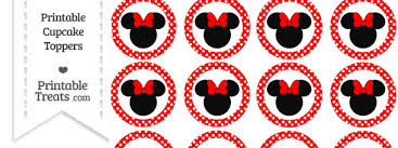 free red polka dot minnie mouse cupcake toppers u2014 printable treats