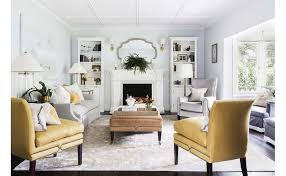Kravet Ottoman Yellow And Gray Living Rooms Transitional Living Room
