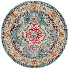 light blue round area rug safavieh monaco light blue fuchsia 5 ft x 5 ft round area rug