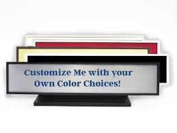 plastic deskplate with square corners full color