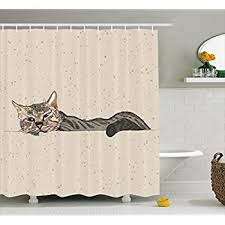 Amazon Com Shower Curtains - magnificent amazon com cat shower curtain by ambesonne lazy sleepy
