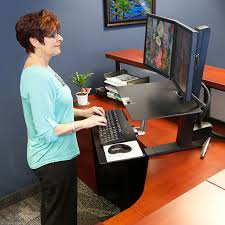 dual monitor stand up desk ergotron 33 349 200 workfit s dual monitor with worksurface