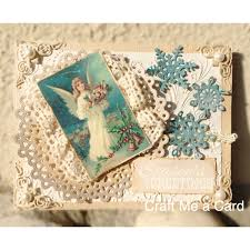 vintage look christmas card made by craft me a card using diecuts