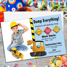 10 personalised digger tractor birthday party photo invitations n155